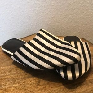 Pin-striped loafer sandals